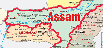 A map of Assam
